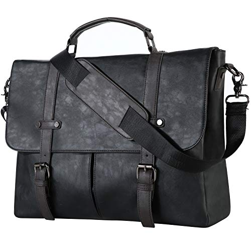 (FROM USA) Leather Messenger Bag,15.6 Inch Vintage Laptop Bag Briefcase Satche