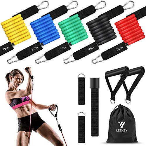 From USA LEEKEY Resistance Bands Set Workout Bands (11pcs) 5 Different Level S