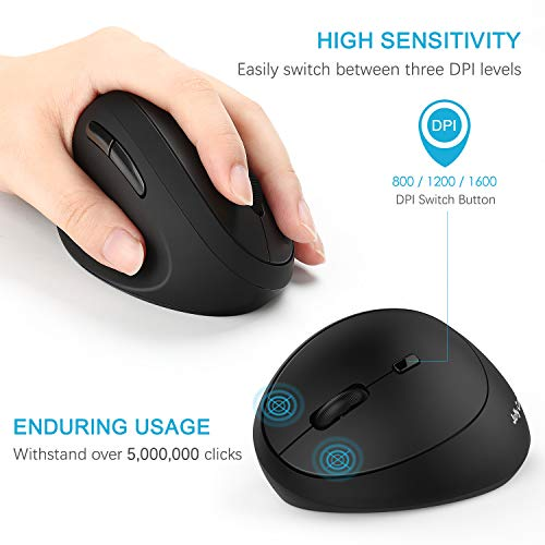 From USA Left-Handed Mouse, Jelly Comb Wireless 2.4GHz Left Hand Ergonomic Ver