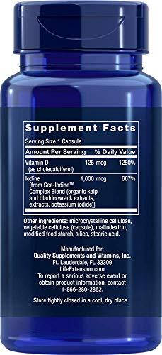 (FROM USA) Life Extension Vitamin D3 5000 Iu with Sea-Iodine Capsules, 60 Coun