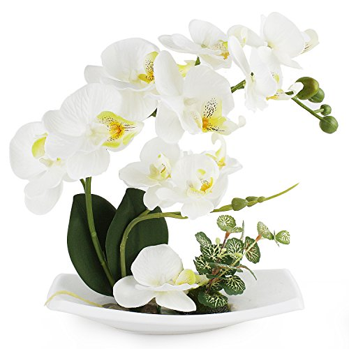 (FROM USA) LIVILAN Artificial Orchids Arrangements for Decoration Silk Fake Fl