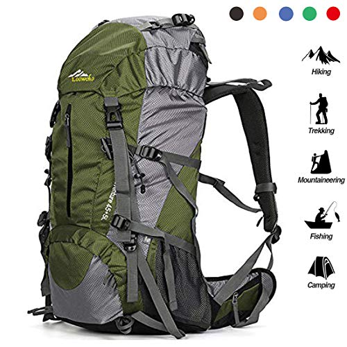 From USA Loowoko Hiking Backpack 50L Travel Camping Backpack with Rain Cover