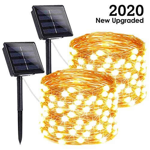 (FROM USA) LORRYTE 2-Pack Outdoor Solar String Lights (Ultra-Bright with Upgra