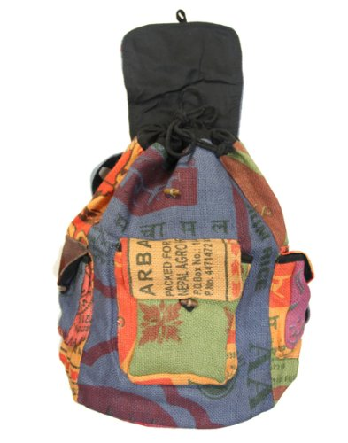 (FROM USA) Lungta Recycled Jute Rice Bag Backpack Hand Made Nepal
