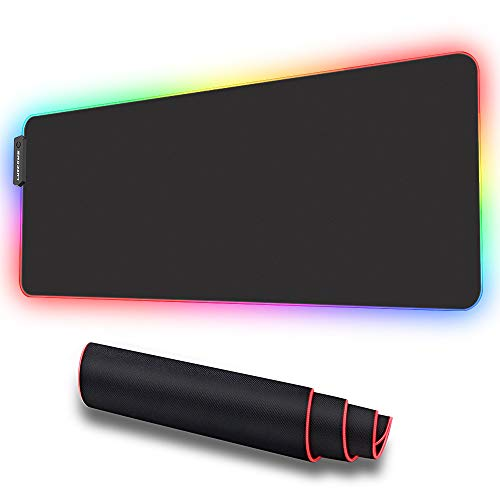 From USA LUXCOMS RGB Soft Gaming Mouse Pad Large, Oversized Glowing Led Extend