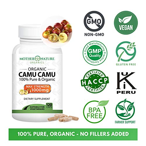 From USA Madre Nature - Organic Camu Camu Berry Capsules - Max Strength 1000mg