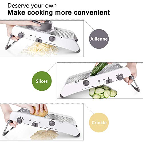 (FROM USA) Mandoline Slicer Stainless Steel Vegetable Julienner Built-in Adjus