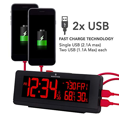 (FROM USA) Marathon CL030063BK USB Charger with 2 Charging Ports and Large Cha