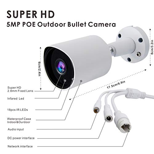[USA Market] (Hikvision Compatible) ONVIF 5MP PoE IP Bullet Camera, 2.8mm Wide