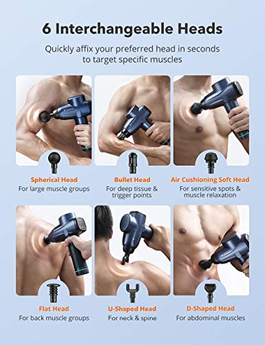 From USA Massage Gun, TaoTronics Percussion Massager with 10 Levels and 6 Mass