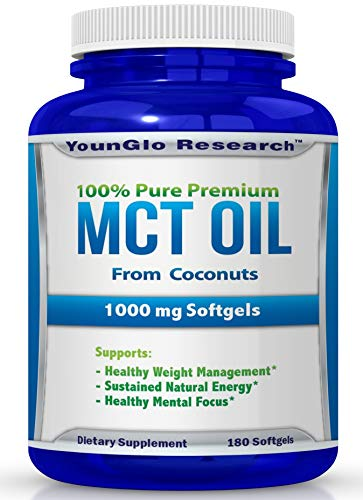 (FROM USA) MCT Oil Capsules 100% from Coconuts - 1000 mg 180 Softgels - Keto F