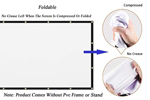 From USA Mdbebbron 120 inch Projection Screen 16:9 HD Foldable Anti-Crease Por
