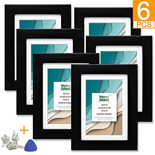 (FROM USA) Memory Island, 5x7 Black Picture Frames, Display 4x6 Photos with Ma