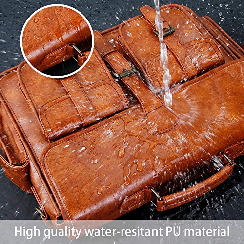 (FROM USA) Mens Messenger Bag 17 Inch Vintage Handmade PU Briefcase for Laptop