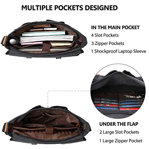 (FROM USA) Mens Messenger Bag Canvas 15.6 Inch Laptop Shoulder Bag Water Resis