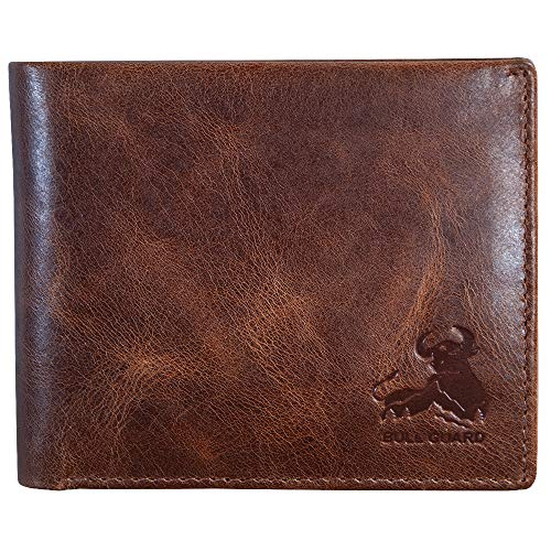 (FROM USA) Mens RFID Blocking Bifold Wallet Soft Genuine Leather Brown Western
