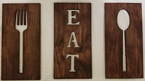 (FROM USA) Michigan Warehouse Wooden Kitchen Decor, Cutlery Signs, Stained Bro