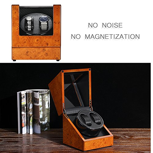 From USA MITIME Automatic Dual Watch Winder Wood Rotating Watches Display Stor