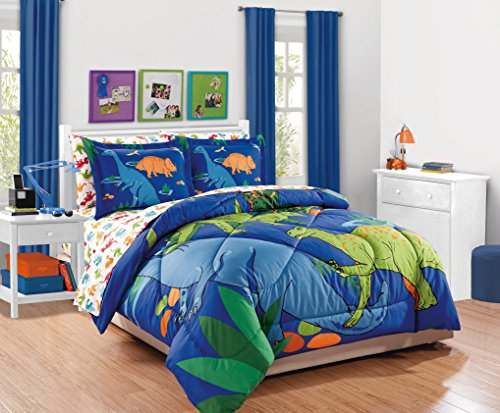 [From USA]MK Collection 7pc Full Comforter Set Dinosaurs Blue Green Orange New
