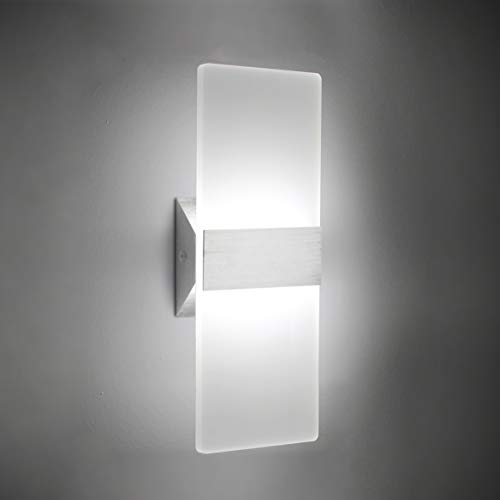 (FROM USA) Modern LED Acrylic Wall Sconce 12W Cool White 6000K Up Down Lamp fo