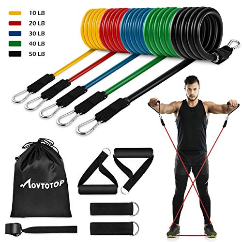 From USA MOVTOTOP Resistance Bands Set, [2020 Newest] 5 Stackable Exercise Ban