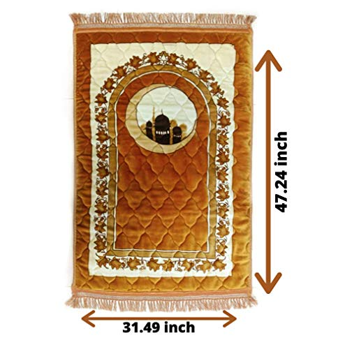 (FROM USA) Muslim Thick Prayer Rug - Plush Cushion Prayer mat - sajjadah - Car