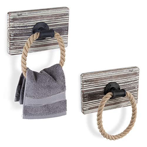[From USA]MyGift Urban Rustic Wall-Mounted Torched Wood  & Rope Towel Ring