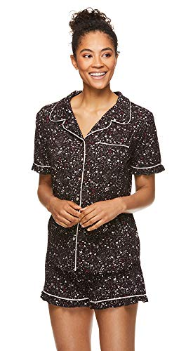 (FROM USA) Nanette Lepore Womens Button Down Pajama Shirt and Elastic Waist Sh