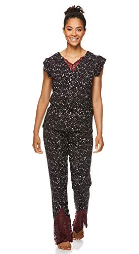 (FROM USA) Nanette Lepore Womens Pajamas Set with Lace Trim Shirt and Pajama P