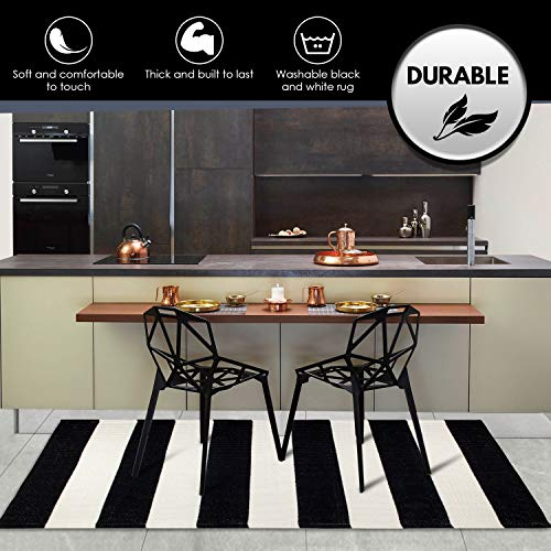 (FROM USA) NANTA Black and White Striped Rug 27.5 x 43 Inches Cotton Woven Was