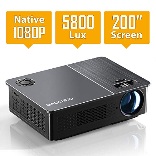 From USA Native 1080P Projector, Crenova HD Video Projector, 5800 Lux LED Movi