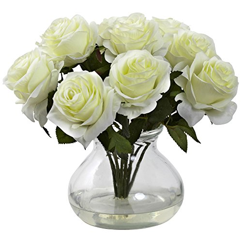 (FROM USA) Nearly Natural 1367-WH Rose Arrangement with Vase, White