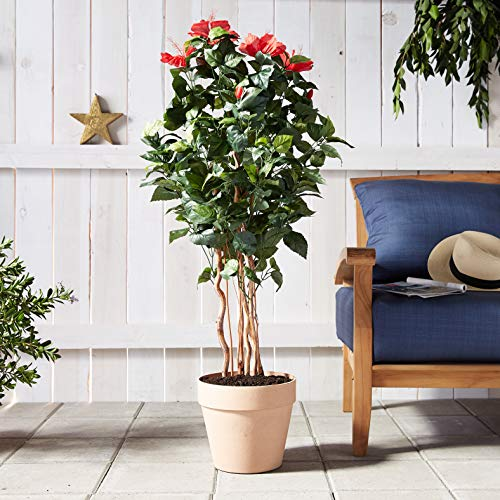 "(FROM USA) Nearly Natural 5410 4ft. Hibiscus Tree,Green,50.5 "" x 7 """
