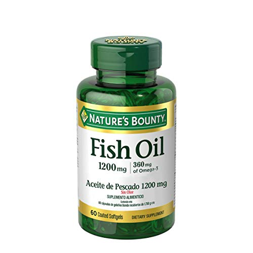 (FROM USA) Nature's Bounty Fish Oil 1200 mg Omega-3 and Omega-6, 60 Odorless S