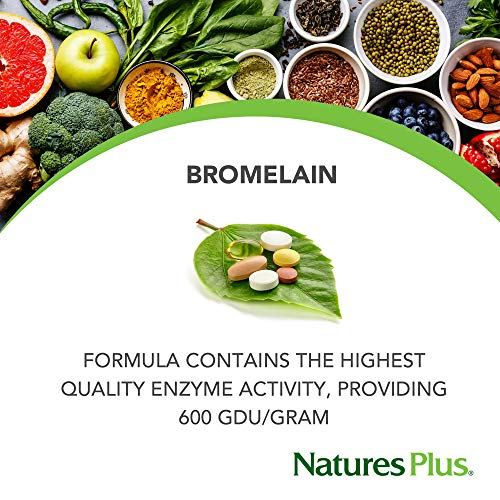 (FROM USA) NaturesPlus Bromelain - 500 mg, 90 Vegetarian Tablets - Natural Pro