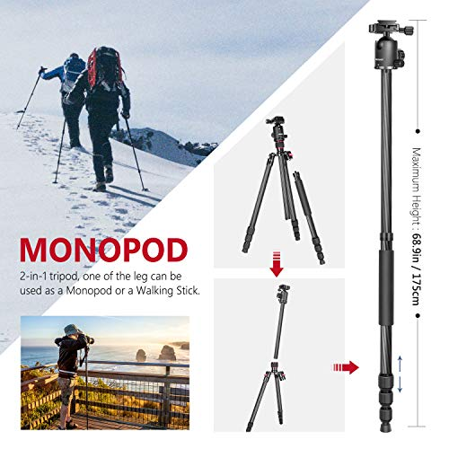 From USA Neewer Carbon Fiber 66 inches/168 centimeters Camera Tripod Monopod w
