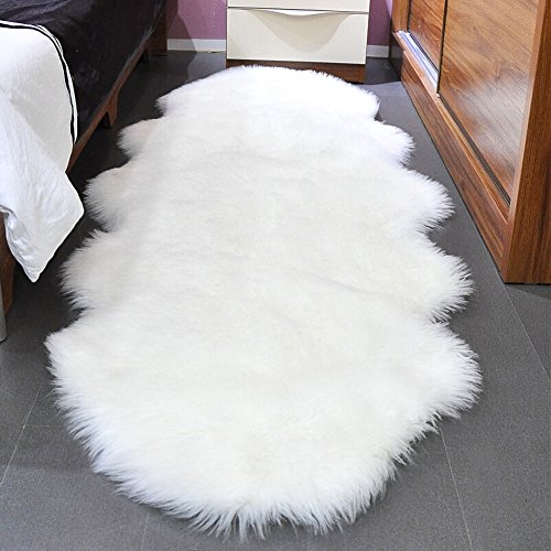 (FROM USA) Noahas Faux Sheepskin Area Rugs Silky Long Wool Carpet for Living R