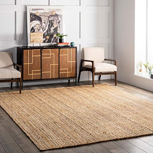 (FROM USA) nuLOOM Rigo Hand Woven Jute Area Rug, 3' x 5' Oval, Natural
