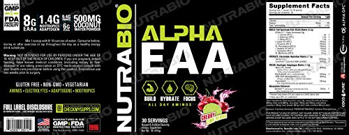 (FROM USA) NutraBio Alpha EAA (Cherry Limeade) – All-Day Recovery, Focus, an