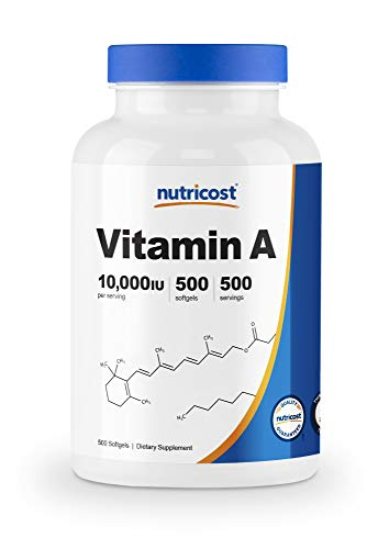 (FROM USA) Nutricost Vitamin A 10,000 IU, 500 Softgel Capsules