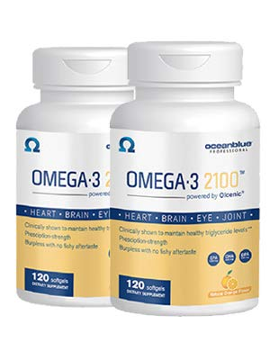 (FROM USA) Ocean Blue Omega 3 2100-120 ct - 2 Pack - 2100 MGS of DHA EPA and D