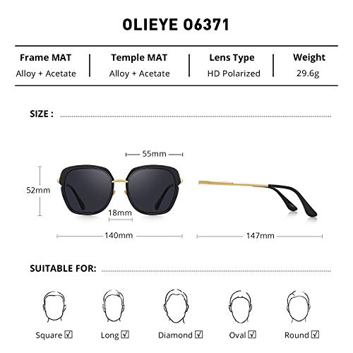 From USA OLIEYE Vintage Oversized Shield Frame Women's Polarized Sunglasses Ho