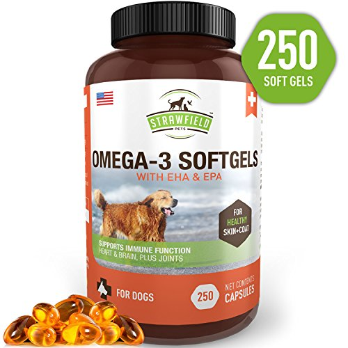 [From USA]Omega 3 Fish Oil for Dogs 250 Softgel Pills 1000 mg EPA DHA Dog Fish