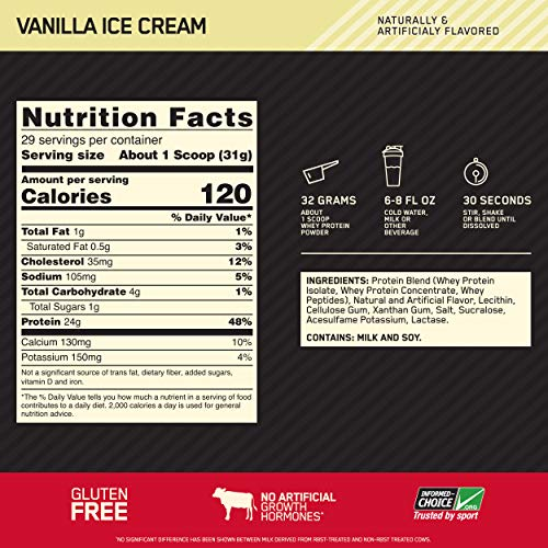 From USA Optimum Nutrition Gold Standard 100% Whey Protein Powder, Vanilla Ice