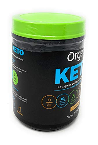 (FROM USA) Orgain Keto Collagen Protein Chocolate Powder with MCT Oil Net Wt 1