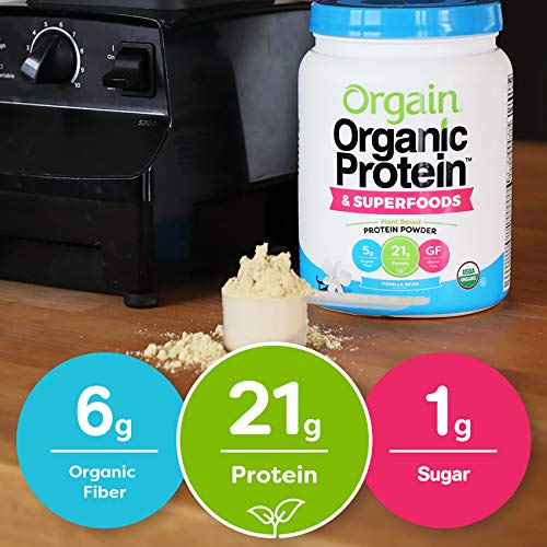 From USA Orgain Organic Plant Based Protein + Superfoods Powder, Vanilla Bean