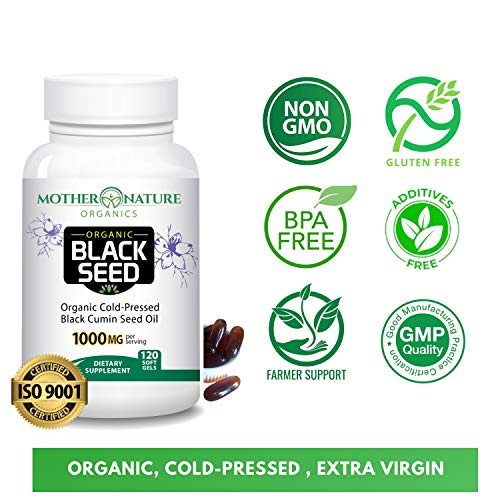 (FROM USA) Organic Black Seed Oil 1000mg - 120 Softgel Capsules (Non-GMO) Prem