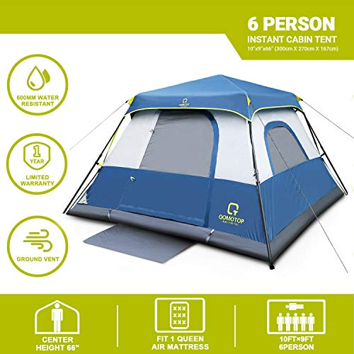 From USA OT QOMOTOP 4/6/8/10 Person Instant Cabin Tent with Rainfly, 60s Easy