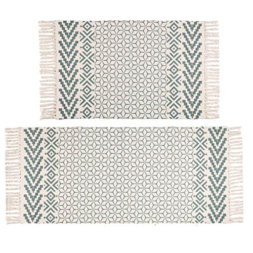 (FROM USA) Pauwer Cotton Area Rug Set 2 Piece Washable Printed Cotton Rugs wit