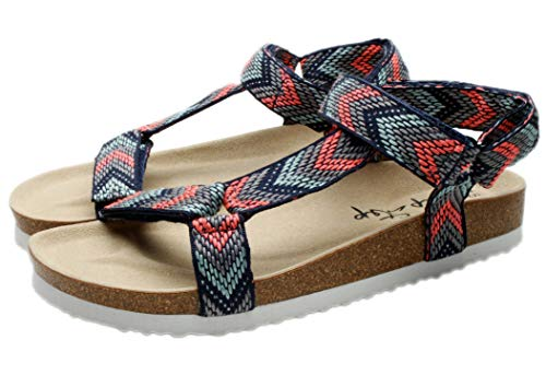 From USA PepStep Flat T Strap Sandals for Women with Soft Suede Cork Foot Bed,